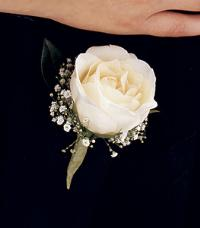 Classic White Rose Boutonniere