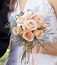 Hand-Tied Peach Rose Bouquet